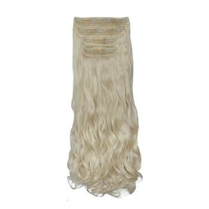 White Platinum Blonde Clip In Hair Extensions Curl
